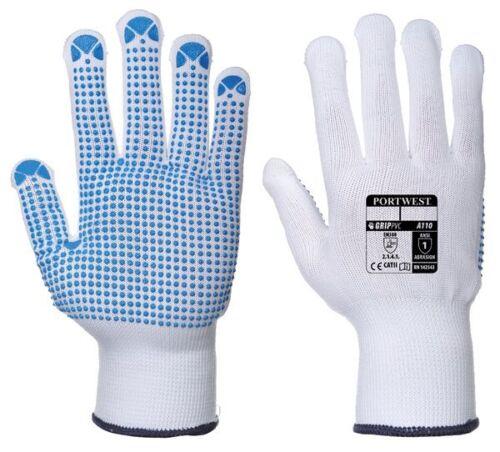 Nylon Polka Dot Gloves Pack of 12 A110WBRLA PORTWEST White//Blue Large