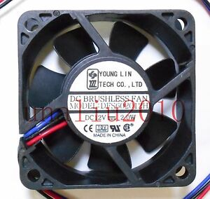 1PC YOUNGLIN 6020 DFS602012H DC12V 2.0W 3-wire 6CM Cooling Fan