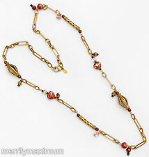 Chico's Signed Necklace Gold Tone Long Fancy Link Chain Red & Pink Glass Beads