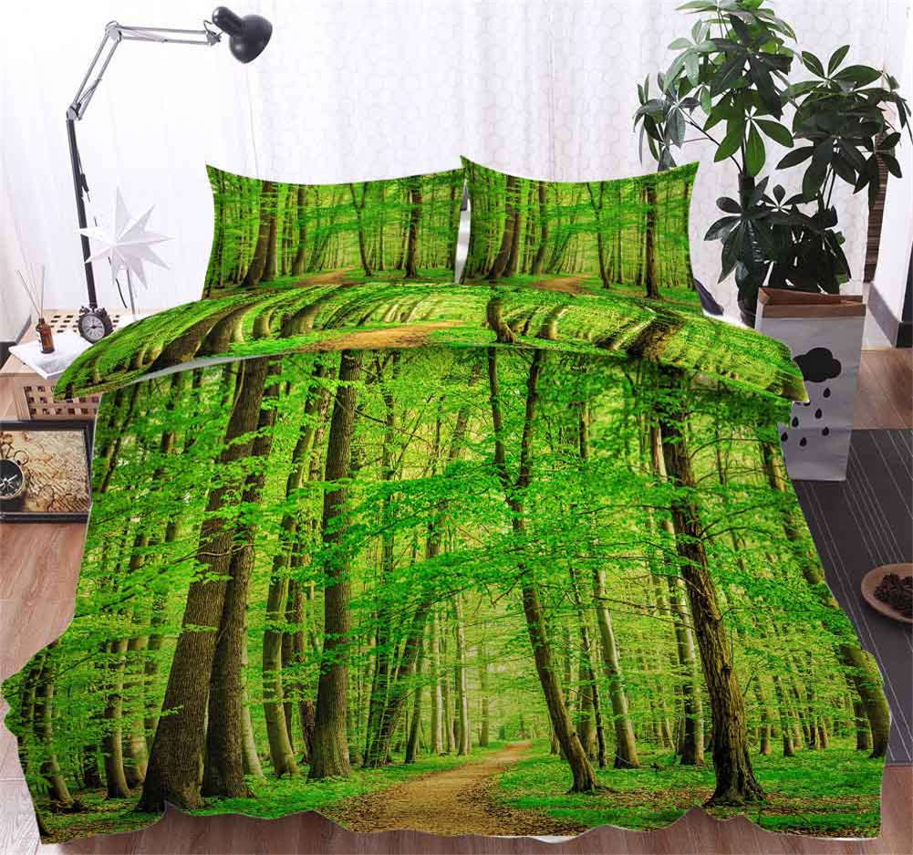 Emerald verde Tree 3D Printing Duvet Quilt Doona Covers Pillow Case Bedding Sets