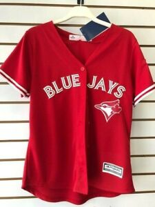 reputable site 8c226 d1662 Details about Women's Majestic Scarlet Toronto Blue Jays Cool Base Replica  Player Jersey