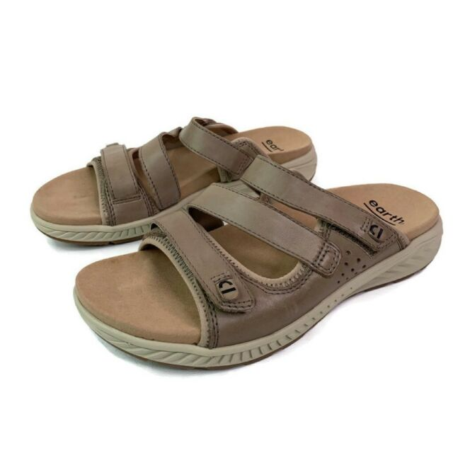 Earth Womens Mira Loures Sandals Slide Brown Strappy Hook Loop Slip Ons 8 M New