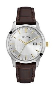 Bulova-Classic-Men-039-s-Rose-Gold-Accents-Brown-Leather-Strap-40mm-Watch-98B266
