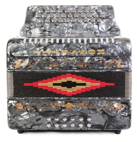 Hard Case Rossetti 3112 GCF Sol 31 Button Diatonic Accordion Grey w// Straps