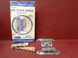2-1950S-NOS-E7645-AMEROCK-CHROME-CABINET-HINGES-W-CORRECT-ORIG-SCREWS-MORE-AVAI