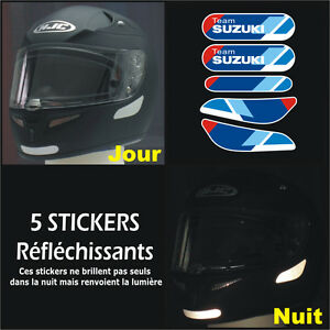 5-Stickers-RETRO-REFLECHISSANTS-TEAM-SUZUKI-pour-CASQUE-GSXR-GSR-Bandit-SV650