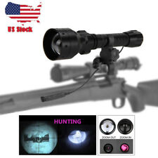 Zoomable IR Night Vision 850nm LED Flashlight Hunting Torch Refle Mount Switch