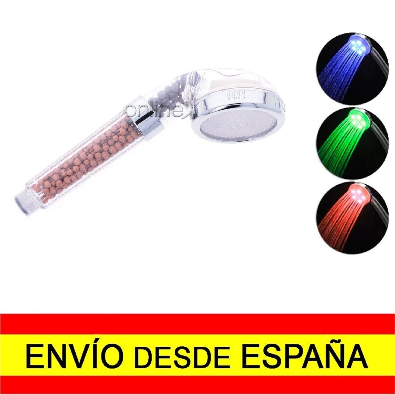 Alcachofa Grifo Ducha Masaje Purificación Luz LED 6 Colores EnvÍo 48/72H. a2139