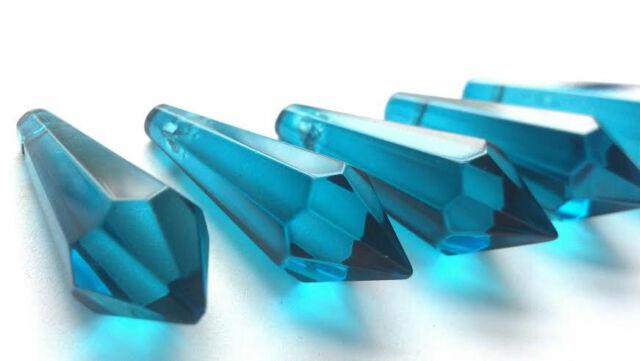 10 Blue Zircon 38mm Icicle Chandelier Crystals Prisms Suncatchers