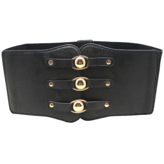 Fashion Super Wide Corset Elastic Waist Belt Stretch Strap Waistband Black Red