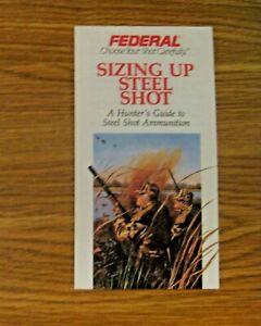 Nouveau Stock Ancien Vintage 1991 Federal Sizing Up Steel Shot Rechargement Guide Manuel-afficher Le Titre D'origine Excellente Qualité