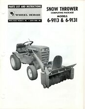 Vintage Wheel Horse Parts List Amp Instr Snow Thrower Pkg Model 6 9113 6 9131