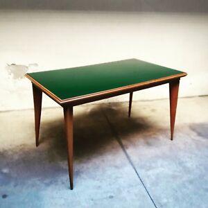 Dettagli su Tavolo Anni 50 in legno e Vetro Opalino Verde