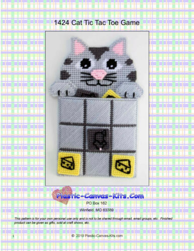 Cat Tic Tac Toe Game-Plastic Canvas Pattern or Kit
