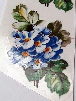 """#2205 Ceramic Decals 6 BLUE FLOWER FLORALS 3 1/4"""""""