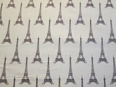 PARIS FRANCE EIFFEL TOWER BROWN TOWERS ON CREAM COTTON FABRIC FQ