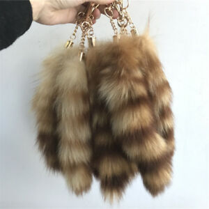 89b678cdc 10pcs Real American Raccoon Tail Fur Keychain Tassel Cosplay Bag Tag ...