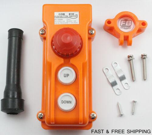 Crane Pendant Control Pushbutton Switch Hoist Station Up-Down Rainproof Button 3