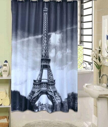 Eiffel Tower Paris Scape Black White Waterproof Bath Shower Curtain Whitout Hook
