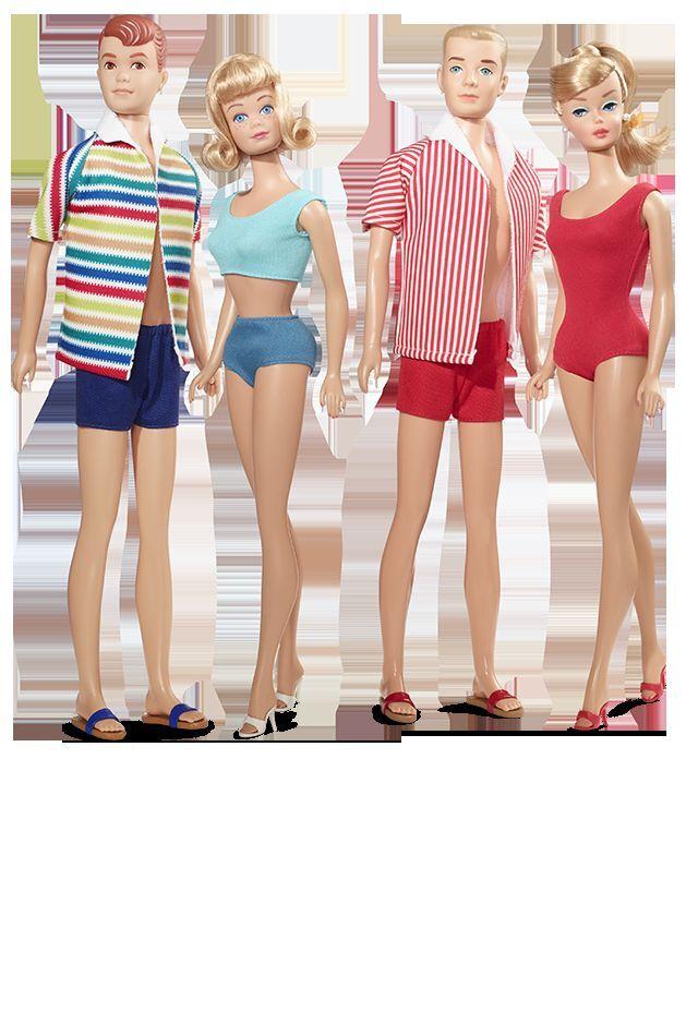 Fecha de doble exclusivo de ventilador Barbie Ken Allan a Midge 4 muñecas y Natación Ropa Set