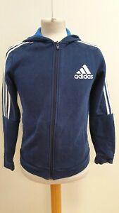 KK312-Garcons-Adidas-bleu-fonce-rayure-Blanche-Sports-Full-Zip-Sweat-a-capuche-top-UK-13-14-ans