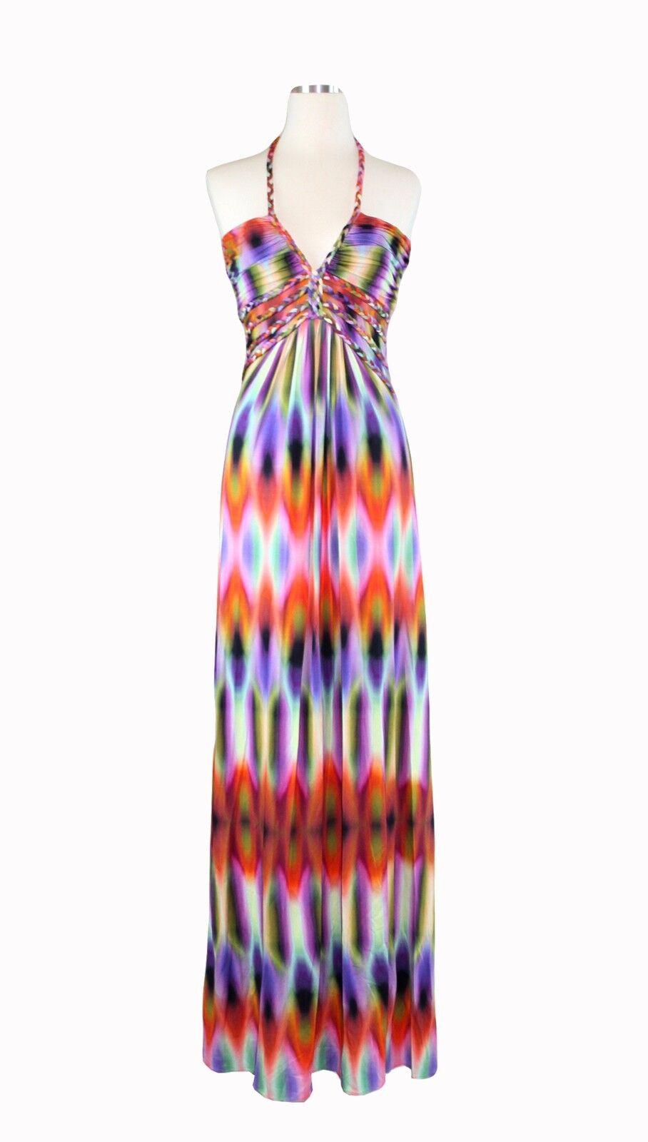 SKY Brand Multi Rainbow colorful Print Halter Sexy Long Maxi Dress NEW W TAG