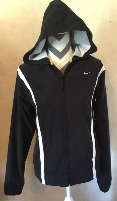 Honest Medium Nike Black White Women's Jacket Hooded Zip Up Mesh Lining Athletic