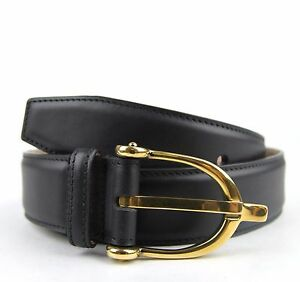 new gucci womens black leather belt w stirrup buckle