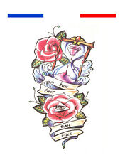 ►► Tatouage Temporaire Ephèmère Réaliste old-school composition Rose Temps