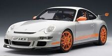 AUTOART PORSCHE 997 GT3 RS SILVER W/ ORANGE STRIPES 1:12*Back in Stock*LARGE CAR