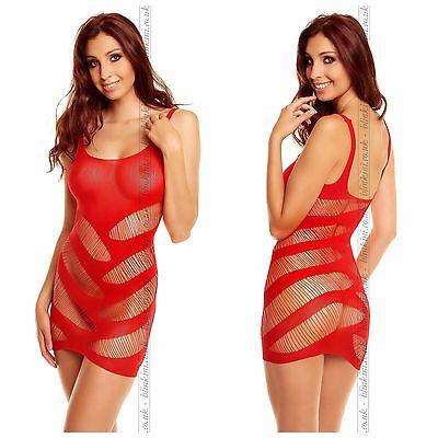 Sexy Sheer Mini Dress Red Cut Out Bodystocking Fishnet Micro Mini Dress  8-14