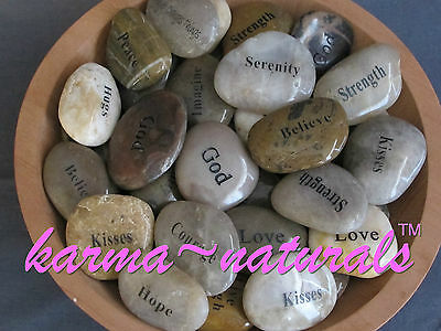 Engraved Pocket RIVER ROCK Wish Word Stone - Inspirational Saying -You Pick Word