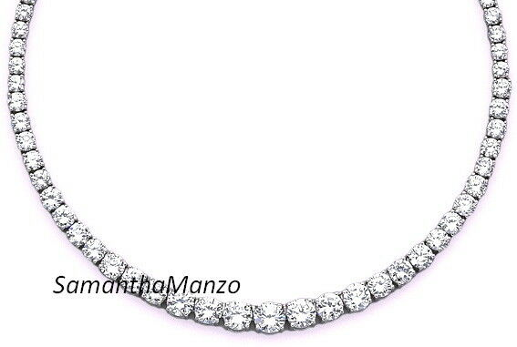 Graduated Cz Cubic Zirconia Round Cut Ladies Jewelry Tennis Line Necklace
