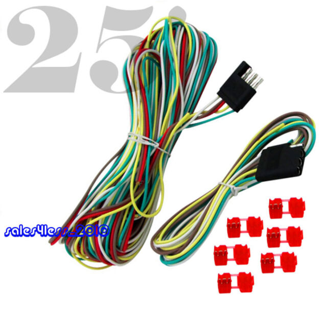 25\' 4 Way Trailer Wiring Connection Kit Flat Wire Extension Harness ...