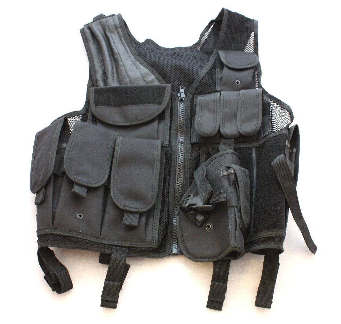 Tactical Vest Modular Elite Command with Duty Belt, Ammo Drop Pouch BLK