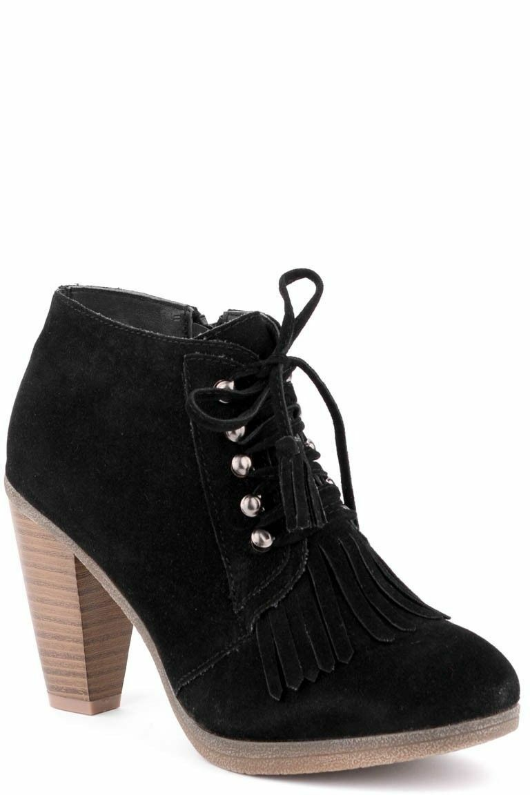 LADIES FAUX SUEDE HEEL BLOCK ANKLE BOOT LACE-UP SHOES ZIP-UP PLATFORM SIZE 4-7