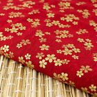 Red Gold Embossed Sakura Japanese Oriental Fabric Cotton Fat Quarter FQ #F0036