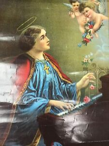 Antique Religious Litho of St Cecilia pictured playing piano for Cherubs c.1900