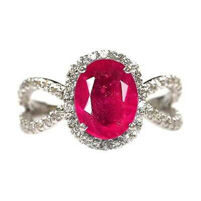 Fine Rings Fine Jewelry Well-Educated 2.15ct Natural Red Ruby & Egl Certified Diamond Ring In 14kt Real White Gold