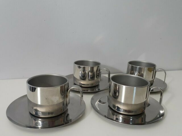 GB Inox Espresso Cup & Saucer Set Stainless 18/10 Italy ...