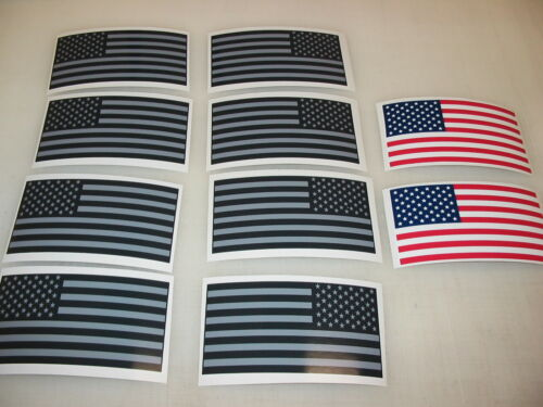 10 Gray R/&L USA MILITARY FLAG Sticker Decal LOT 4 Silver Black Infrared American
