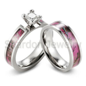 pink muddy tree camo ring cz prong setting engagement