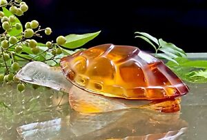 Lalique-Crystal-Caroline-Turtle-Figurine-Amber-Signed-Authentic-Mint-Lovely
