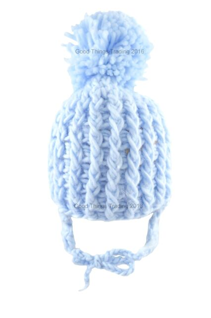 Pesci Baby Boys Knitted Bobble Hat With Chin Tie 0-3 Months Blue for ... d491585fc28