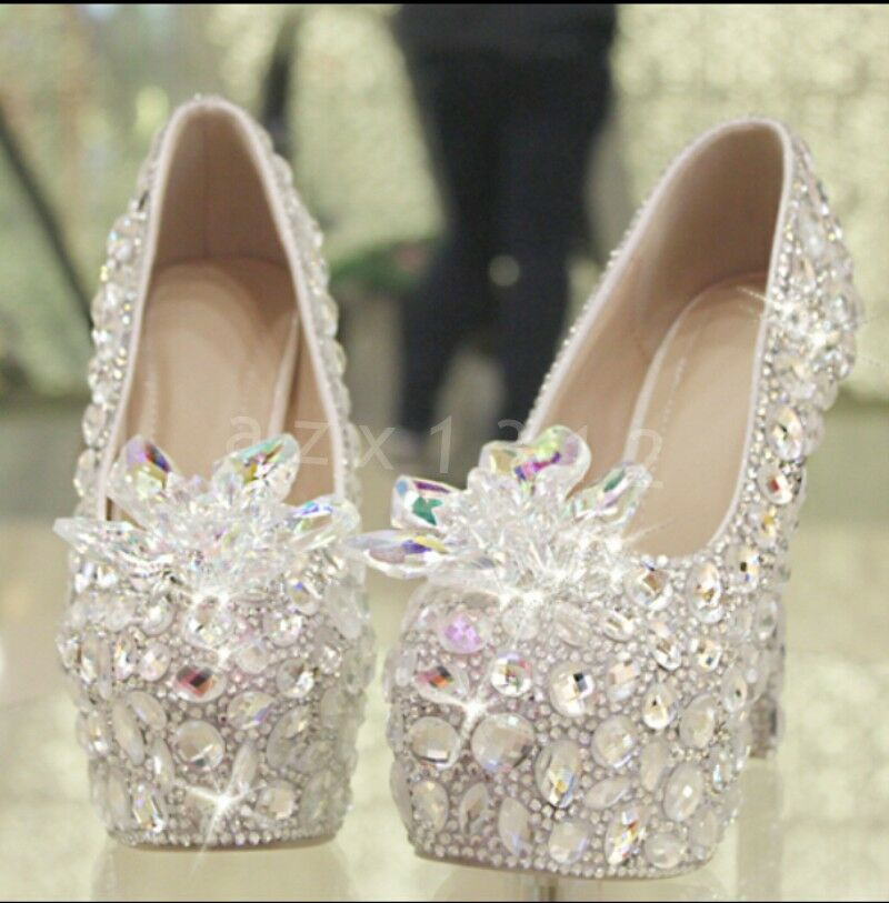 Donna luxury crystal high-heeled slip on dream wedding dress formal shoes 35-41