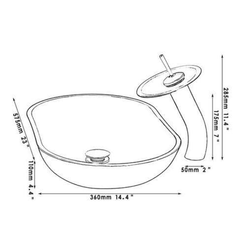 Black Edge Silver Oval Glass Basin Bowl Bathroom Vessel Sink Faucet Drain Set