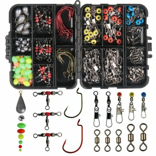 Fishing Kit in box Kit With Fishing Swivels Hooks Sinker Weights Slides 165Pcs