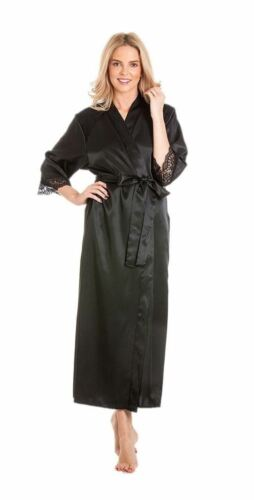 Satin Lace Full length Dressing gown plus size bridal 10-24 House Coat Kimono