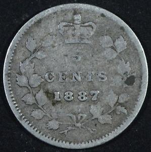 1887-Canada-5-Cents-Silver-Coin-Victoria