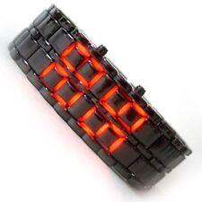 Black Samurai Steel Red LED Digital Watch cum Bracelet For Mens & Women